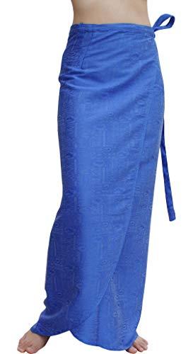 RaanPahMuang Brand Thick Geometric Stamped Thai Silk Formal Wrap Plus Size Skirt, XXX-Large, Azure Blue - Geometric Silk Skirt