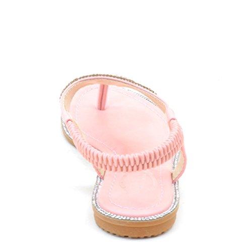 Nuovo Brieten Womens Strass T-strap Sandali Flat Bungee Comfort Flip-flop Rosa