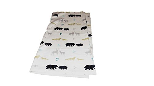 Woodland Bear, Fox, Wolf, Deer Flannel Receiving Blanket 30x30