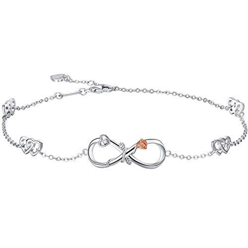 DESIMTION Sterling Silver Infinity Anklet 18K White Gold Plated Adjustable Large Bracelet Women