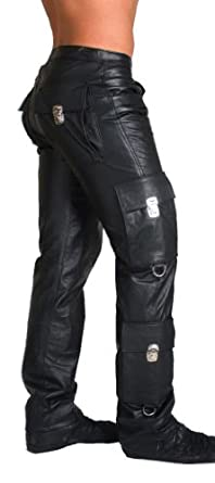 Men's Real Leather Cargo Pants Bikers Trousers WITH FREE LEATHER BELT Durable,Elegant and Carefully Stitched. CARE: Avoid being exposed to the dust, rain or .