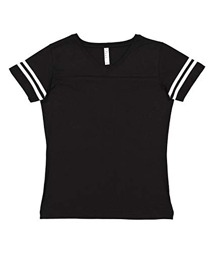 LAT Ladies' Fine Jersey Short Sleeve Football Tee (Black/White, Small)