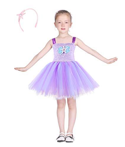 Familus Mermaid Tutu Dress for Girls with Headband and Shell-Starfish Decor Purple Tutu Dress 4T -