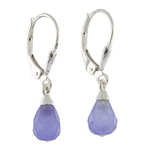 - Sterling Silver Faceted Dyed Chalcedony Teardrop Lever Back Earrings, Purple