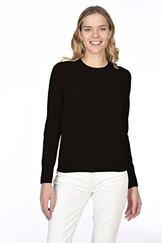 State Cashmere Essential Crewneck Sweater 100% Pure Cashmere Long Sleeve Pullover for Women (Black, Medium)