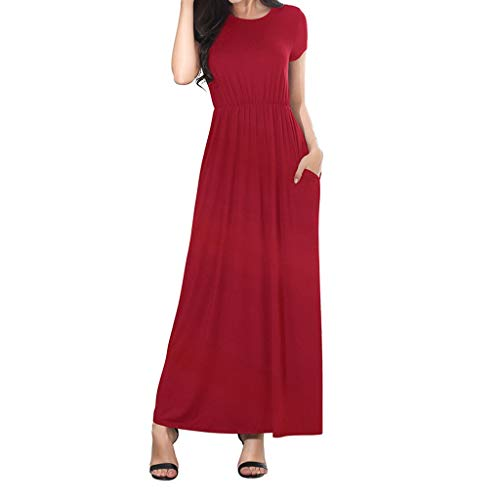 Women Summer Dresses Bohemian Casual Slim Fit Solid Color Beach Maxi Long Dress with Pockets (XL, Wine Red) ()
