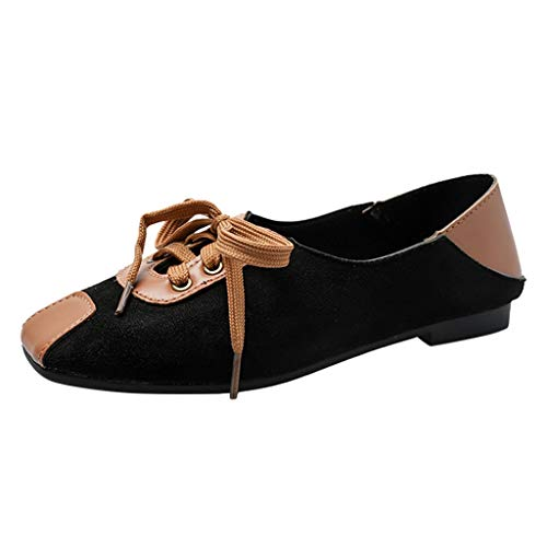 Loafers Shoes,Creazrise Casual Shoes Summer Shallow Mouth Single Lace Up with Peas Shoes Women's Boat Shoes Brown