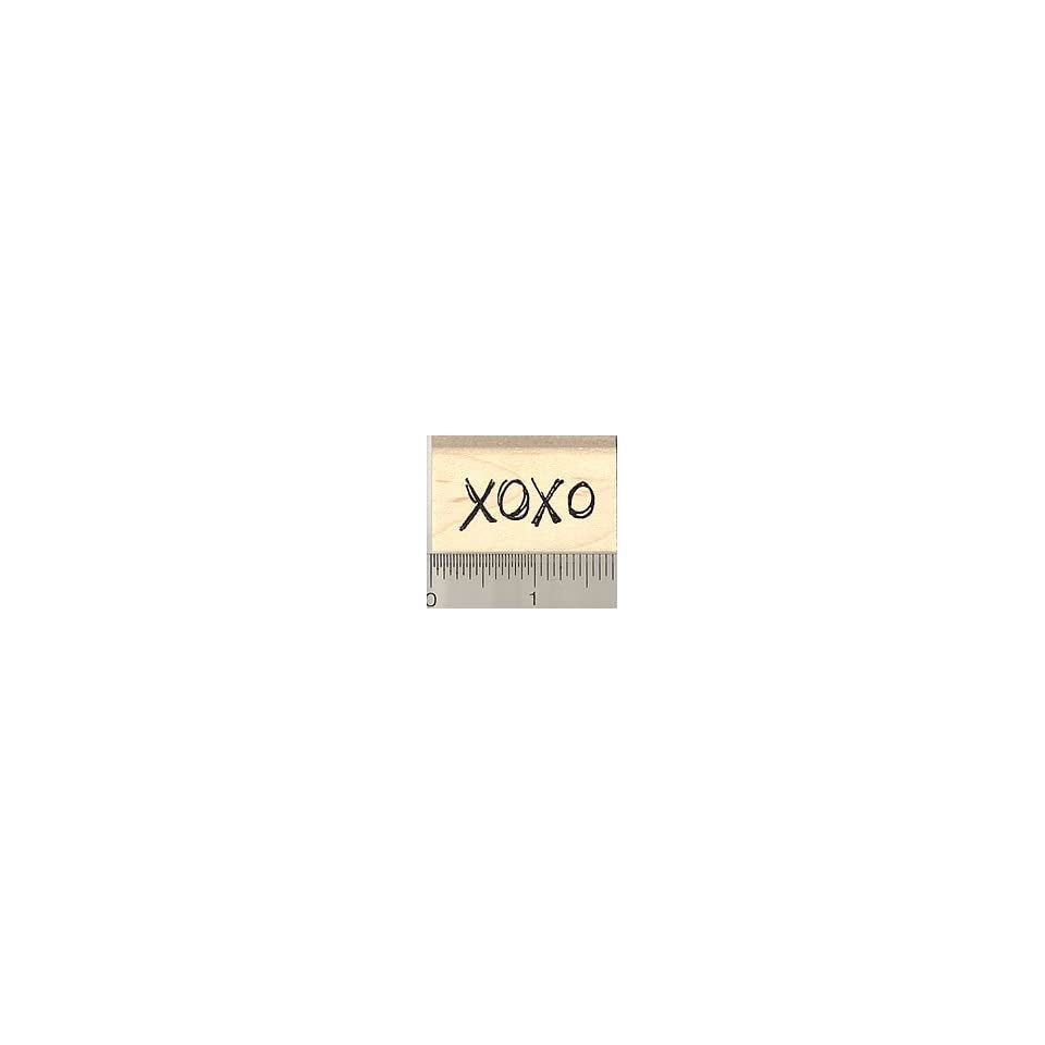 Xoxo Hugs and Kisses Rubber Stamp   Wood Mounted