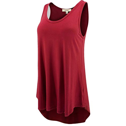 LUVAGE Women's High Low Tank Top Tunic Shirts Loose Fit Cranberry (Cranberry Small)