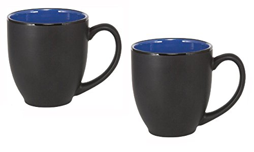 Bistro Ceramic Large Coffee And Tea Mug Matte Black w/ Blue Interior, 12 ounce (Pack of 2)