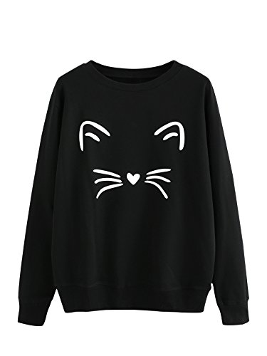 MAKEMECHIC Women's Graphic Cat Print Long Sleeve Pullover Sweatshirt Black## XL ()