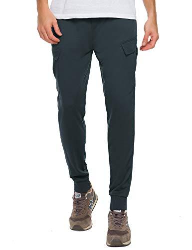 poriff Joggers Pants for Men Slim Fit Casual Lounging Gym Sweatpants Navy S (Best Slim Fit Sweatpants)