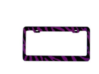 Automotive License Plate Frame Metal - Zebra Purple
