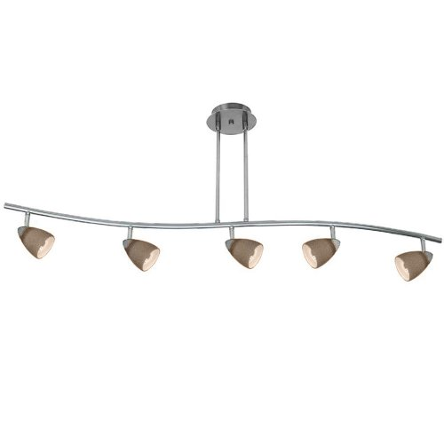 Cal Lighting SL-954-5-WH/CRU Track Lighting with Cone Rust Shades, White Finish