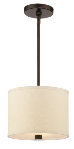 - Forecast Lighting F1308-20U Embarcadero One-Light Energy Efficient Pendant with Vanilla Fabric Shades and Etched White Glass, Sorrel Bronze