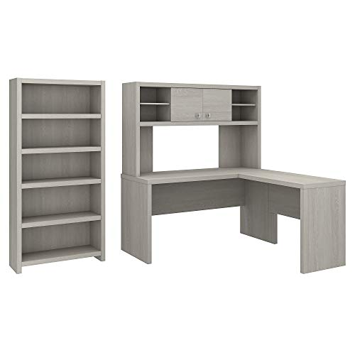 Office by kathy ireland Echo L Shaped Desk with Hutch and 5 Shelf Bookcase in Gray Sand