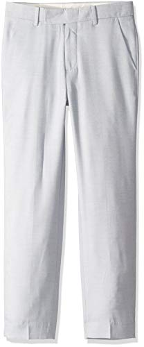 Calvin Klein Big Boys' Twill Flat Front Dress Pant, Misty Rain, 14 (Boys Dress Twill Pant)