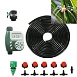 DIY Micro Irrigation Drip System, Plant Self Automatic Watering Timer Garden Hose Kits With Adjustable Dripper