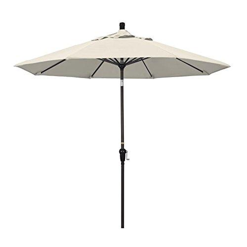 California Umbrella 9' Round Aluminum Market Umbrella, Crank Lift, Auto Tilt, Bronze Pole, Antique Beige