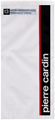 """Pierre Cardin Handkerchief 16"""" x 16"""" with Satin Cord 13 Pack - White Poly Blend Permanent Press"""