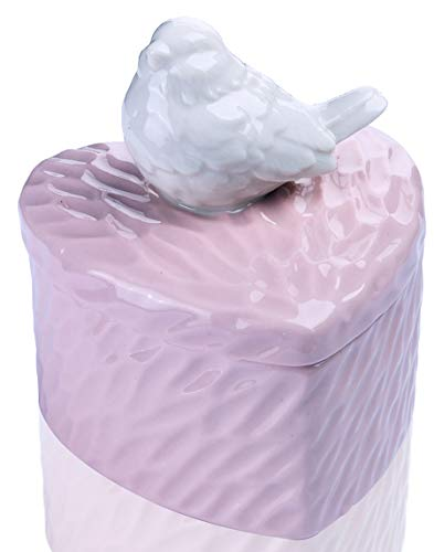 YU FENG Ceramic Jewelry Trinket Boxes with Porcelain Bird Ring Holder Dish (Bird-Pink)