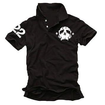 Coole Fun T Shirts Skull 22 Poloshirt Deadhead Polo Black Grosse