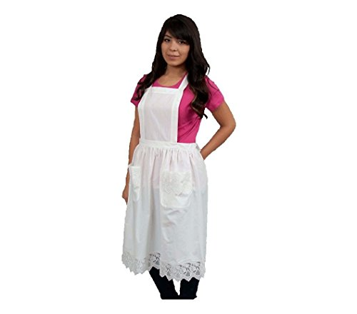 Costume Victorian Kitchen Maid (Deluxe Lace Victorian Maid Costume Ladies Full White Apron with)