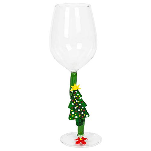 Speckled Christmas Tree Festive Wine Glass Goblet in Gift Box (Trees Goblet Christmas Design)