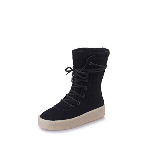 Bottom Winter Boots DEESEE Black Season TM Crepe Handmade Boots Casual Women I6IqOwBa