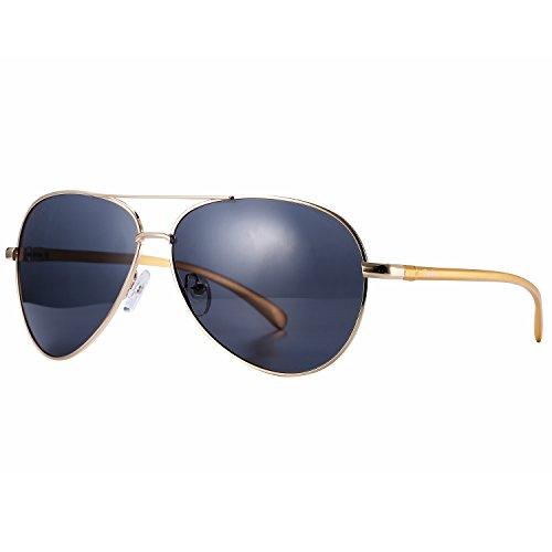 Pro Acme Premium Oversized Aviator Polarized Sunglasses With Al Mg Temple  Gold