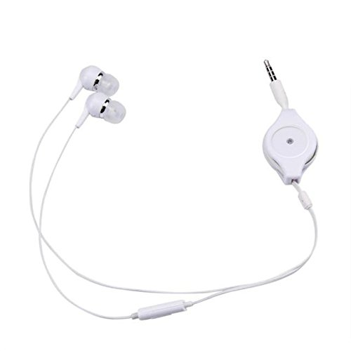 Amandaz 3.5mm with Wheat Retractable Storage subwoofer Stereo in-Ear Headphones Sports subwoofer Headphones (White)