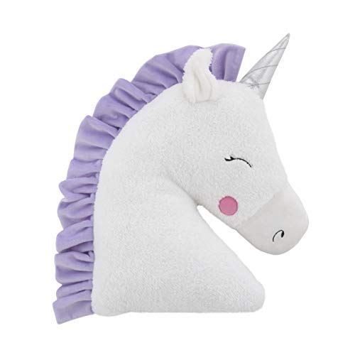 Little Love by NoJo Shaped Plush Sherpa Decorative Pillow, Unicorn, White, Lilac, Silver, Lavender