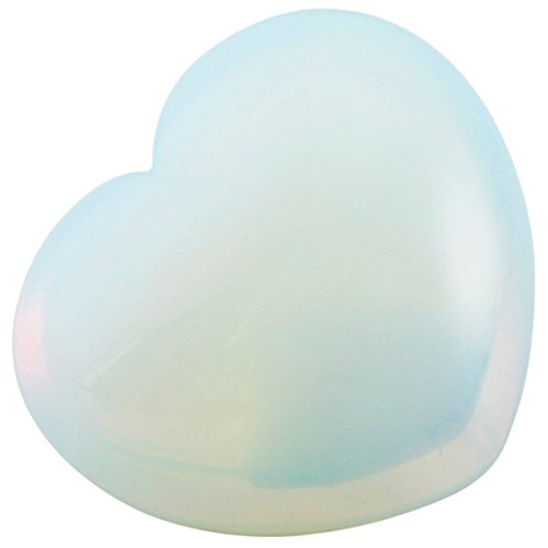 Genuine Hand Carved Rose Opalite Heart Shaped Stone 30mm Crystal Healing ()