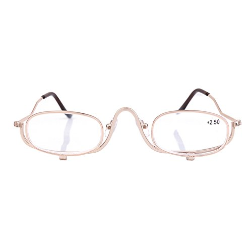 Lifetop Make-up 2.5x Magnifying Makeup Eye Alloy Glasses Spectacles Flip Down - With Makeup Spectacles
