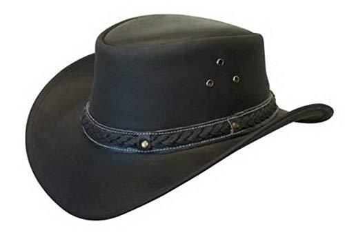 Brandslock Mens Leather Cowboy Hat Down Under Outback Wide Brim Black/Brown (2XL, Black) ()