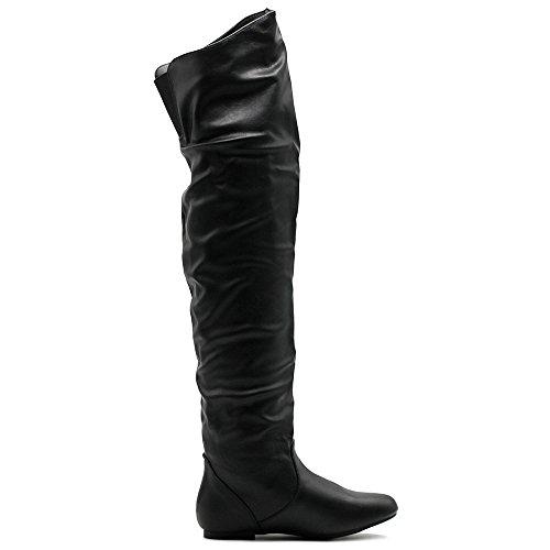 Ollio Frauen Schuh Stretch Faux Suede oder Kunstleder über die Knie flache Falten lange Stiefel Schwarz-PU
