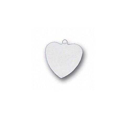 Sterling Silver Heart Disk - Sterling Silver Engraveable Heart Disk Charm Item #2878