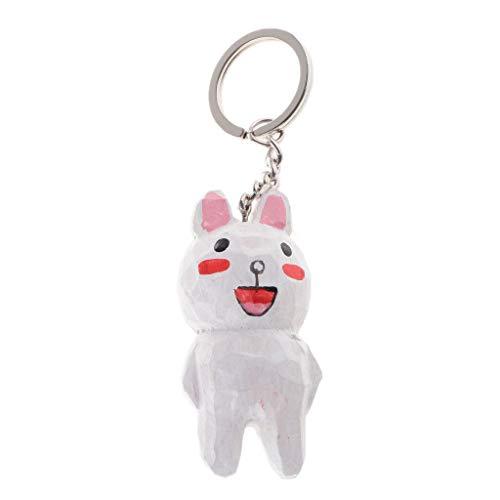 NATFUR Keyring Keychain Hand Carved Animal Figurine Key Chain Bag Phone Car Pendant Elegant Pretty for Women for Men Holder Perfect Elegant | Color - White Rabbit