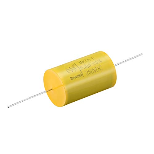uxcell Film Capacitor 250V DC 6.8uF Axial Polyester Film Capacitor for Audio Divider -