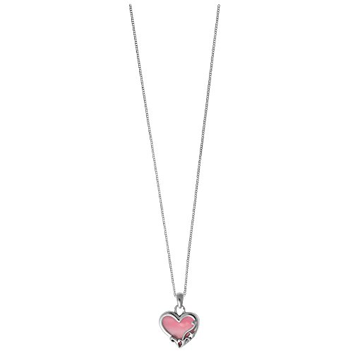 Boma Sterling Silver Pink Shell Heart Necklace, 16 inches