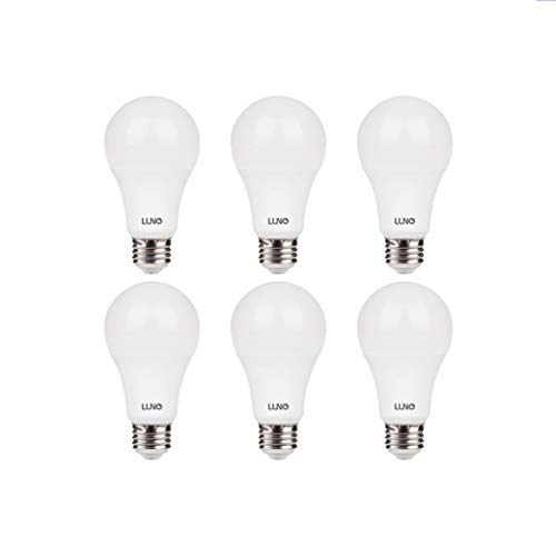 LUNO A19 Non-Dimmable LED Bulb, 14W (100W Equivalent), 1500 Lumens, 5000K (Daylight), Medium Base (E26), UL Certified (6-Pack)