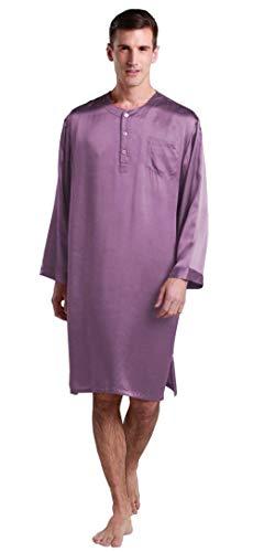 De Verano Primavera Salón Mamá Pijamas Y Sólidos Colores Violett Ligero Para Simple Hombres Estilo Baño Manga Larga Pijama Camisa XpqwBxp