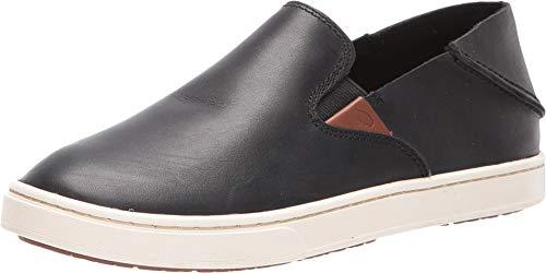 OLUKAI Women's Pehuea Leather Shoe, Black/Black, 8 M US