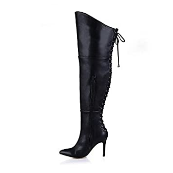 Heart&M Mujer Botas Botas de Moda Invierno PU Vestido Negro Rojo 10 - 12 cms ,