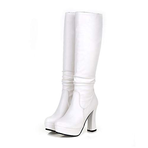 Women's Shoes Knee-high Boots Ladies Fashion Platform High Heels Party Warm Plush Winter Woman Boots (Best Weenfashion Platform Heels)