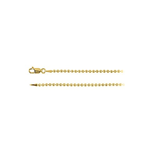 Yellow Gold Vermeil Over Sterling Silver 2mm Bead Chain
