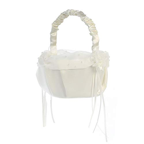 Lito Ivory Pearled Organza Trim Satin Flower Girl ()