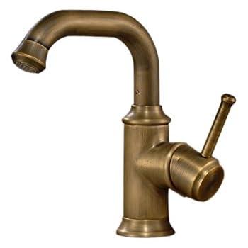 Modern Antique Brass Finish Deck Mount Bahtroom Basin Mixer Taps Single  Handle Control Lavatory Vanity Sink