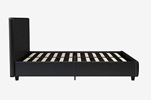 DHP Dakota Platform Bed with Tufted Upholstery in Faux Leather, Stylish Headboard, Includes Side Rails, Queen Size, Black Black Queen