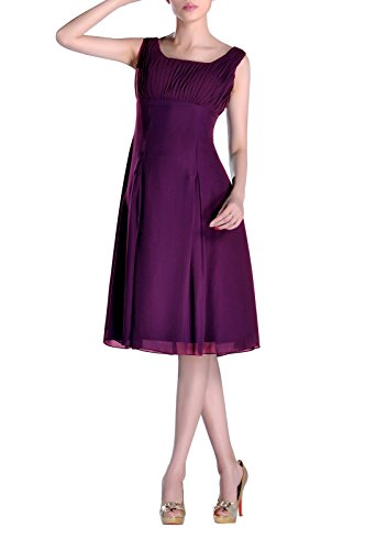 Prom Knee Bridesmaid Chiffon Purple A Length Scoop Pleated Dress Grape Homecoming Straps line zEgxZnqI